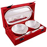 Collectible India Royal Silver Plated Brass Bowl Set (2 Bowl, 2 Spoon, 1 Tray)