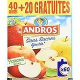 ANDROS Compotes de Pommes en gourdes Sans Sucres Ajoutés 60x90g
