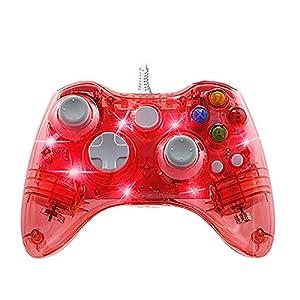 Ignatv Xbox 360 Controller, Kabelgebundene USB Gamepad Controller mit DualShock und 7 LED für Xbox 360 & PC & Windows XP/7/8/8.1/10/Vista(Drittanbieter-Produkt)-Transparent Rot