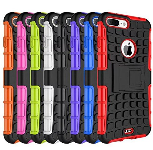 Apple Iphone 7 Plus Hülle, Nnopbeclik Hybrid 2in1 TPU+PC Schutzhülle Cover Case Silikon Rüstung Armor Dual Layer Muster Handytasche Backcover 360-Grad-Drehung ständer stoßfest Handy Hülle Tasche Schut Schwarz+Blau