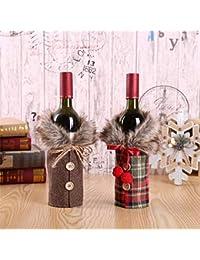 Fundas para botellas de vino de 2 unidades champagne parejas manteles decoración de Navidad del día