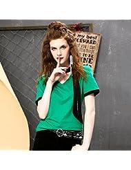 Heart&M de las mujeres ajustado de color sólido V-cuello de manga corta bordado camiseta tops . l . green
