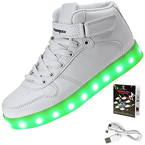 Baskets Lumineuses Homme - Shinmax Hi-Top Chaussure LED 7 couleurs Changeantes