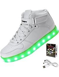 Shinmax Hallo-Top LED Schuhe 7 Farben Andern Mit Leuchtender USB Aufladbar die Männer Frauen Leuchtende Schuhe Leuchtschuhe Sneakers mit CE-Zertifikat