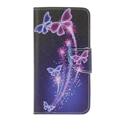Alcatel Onetouch Idol 3 (5,5 Zoll) Hülle,Hohe Qualität Kunstleder Flip Handyhülle mit Kartenfächer & Standfunktion Tasche aus Leder für Alcatel Onetouch Idol 3 (5,5 Zoll),Purple Butterfly