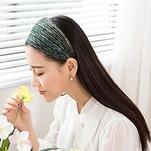 Xinjiener Damen Kopfband Lila helle breite Tuch Stirnband Kopfschmuck Schnalle Falten Stoff Kopf mit Rutschfeste Stirnband Kopfschmuck