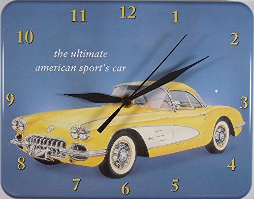 Corvette USA Oldtimer gelb Blech Uhr Flach Neu 20x26cm U505