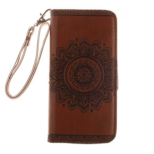 iPhone 5s Case,iPhone SE Case,iPhone 5 Case,Fodlon® Flowers Embossed Retro Premium PU Leather Magnetic Flip Wallet Cover with Detachable Hand Lanyard & Card Slots & Stand Function for iPhone 5 5s SE-w marron