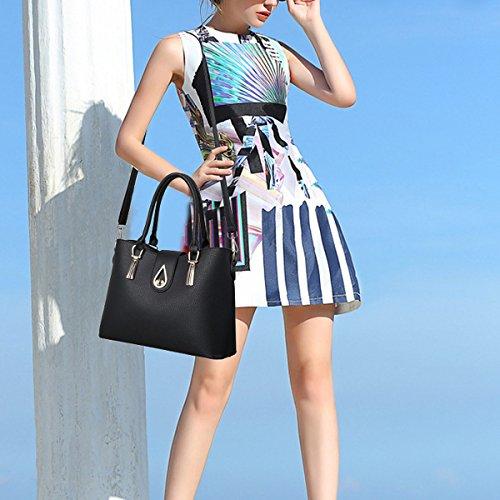 Donna Nuovo Stile Moda Pratica Grande Capacità Temperamento Tre Lenzuolo Borsa A Tracolla Singola Black