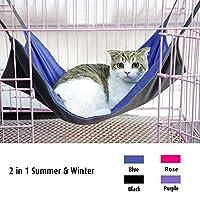 Namsan Pet Cage Hammock,Cat Crib,Kitten Hanging Hammock Bed,2 in 1 Summer&Winter,Waterproof Oxford Fabric,Blue-S
