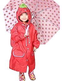 Kids perchero de pared de lluvia para niños niños niñas lovely cartoon Plain color chubasquero impermeable con capucha para la lluvia chaqueta impermeable para niños edad 345678años