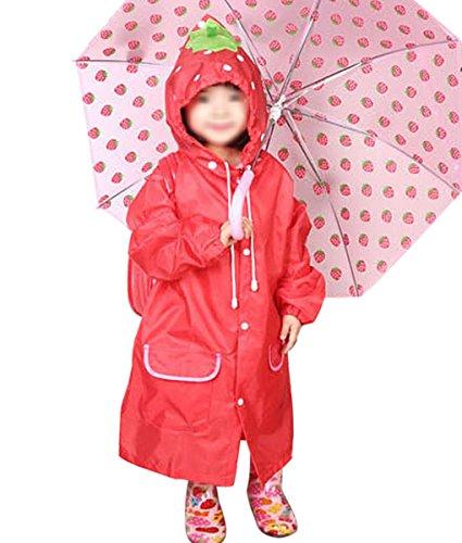 Kids Rain Coat for Children Boys Girls Lovely Cartoon Plain Colour Raincoat Cute Hooded Waterproof Rain Jacket Rainwear for Kids Age 3 4 5 6 7 8 Years Old