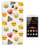 C0933 - Smiley Emoji Funny Heart Love Sunglasses Shit Poop Laughter Icon App Design Huawei Y5II / Y5 2 (Two)-2016 Fashion Trend Protecteur Coque Gel Rubber Silicone protection Case Coque