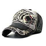 Sporty Herren Baseball Cap Shark Fight Skull, Schwarz, verstellbar von ca 55-60cm