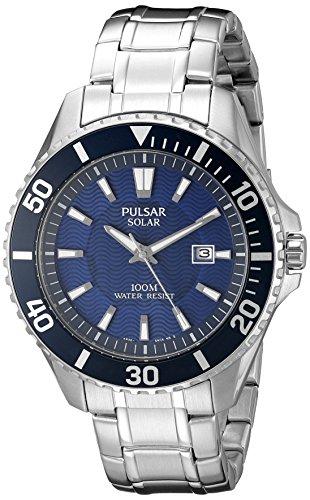 Pulsar Men's 44mm Steel Bracelet & Case Hardlex Crystal Quartz Blue Dial Analog Watch PX3067