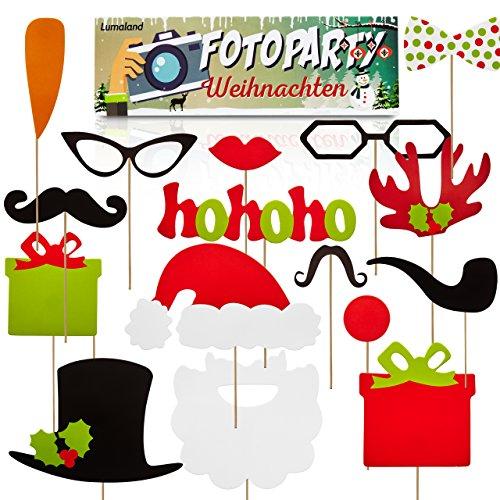 Lumaland Fotoparty Set Weihnachten lustige Foto Props und Requisiten Sets mit Fotoaccessoires für Verschiedene Anlässe
