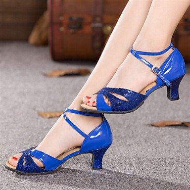 Dance Shoes Quietness Ruhe @ Damen Tanzschuhe Latin Patent Leder Chunky Ferse blau/rot/Silber/Gold, rot - 5