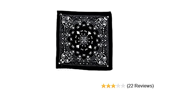 bikers etc. 100/% cotton white with black skulls and crossbones paisley effect design bandana 55cm square Ideal for every day wear pirate party