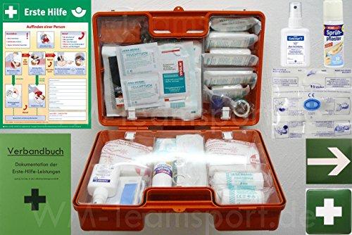 Erste-Hilfe-Koffer M5 PLUS für Betriebe DIN 13157 / EN 13157 Stand 2017 - Komplett-Paket incl. Notfall-Beatmungshilfe + Verbandbuch + Desinfektion + Aushang 1.Hilfe + Sprühpflaster