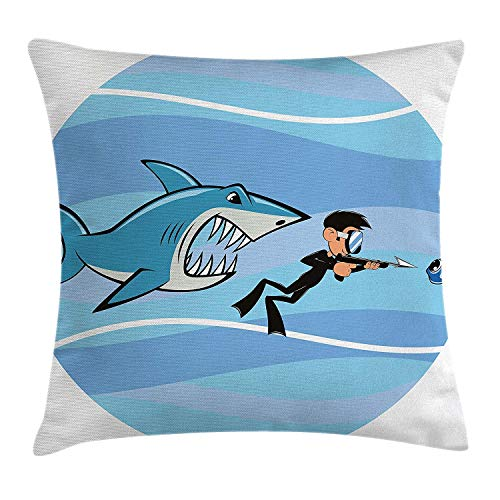 llow Cushion Cover Angry Toothy Shark Chasing a Diver Aquatic Wild Animal Cartoon Underwater Life, Decorative Square Accent Pillow Case, 16x16 Inch/40cmx40cm, Blue White Black ()