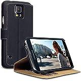 Terrapin Leder Tasche Case Hülle im Bookstyle mit Standfunktion Kartenfächer für Samsung Galaxy S5 Hülle Schwarz