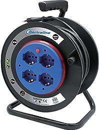 Electraline 49031 prolunga elettrica con avvolgicavo a tamburo fisso 25 mt 4 prese polivalenti (schuko + 10/16A) spina grande 16A, con protezione - sezione cavo 3G1,5 mm²