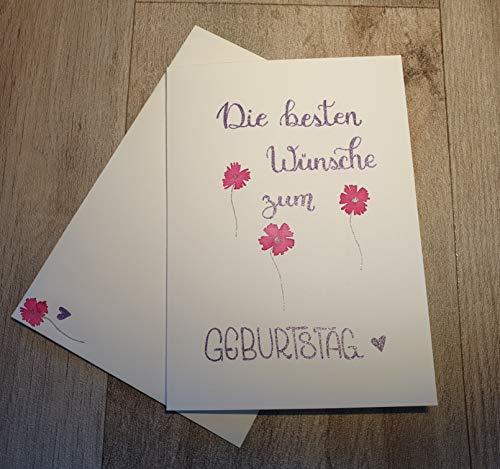 """Handlettering Klapp Karte mit Umschlag\""""Die besten Wünsche zum Geburstag\"""""""
