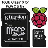 Carte Micro SD préchargée avec NOOBS ou Raspbian pré-intégré pour Raspberry Pi modèle Zero, B + & pi 2, classe 10 16GB-NOOBS