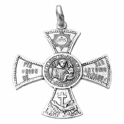 Silbermedaille Act 925m San Antonio De Padua 33mm. Cruz Aspa Beten Sie für uns Unisex Cerco