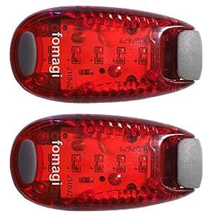 fomagi 2X LED-Sicherheitslicht – Blinklicht oder Dauerlicht – mit Clip und Klettband (rot)