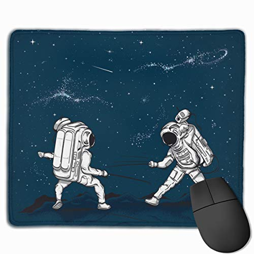 The Astronauts Fencing In Space Personalized Mouse Pad - Add Pictures, Text, Logo Or Art Design and Make Your Own Customized Mousepad.11.8 X 9.8 Inch