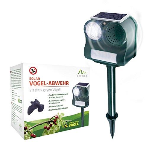Gardigo Solar Vogelabwehr   Ultraschall und Blendlicht gegen Vögel   Schonend und effektiv   Für Garten und Balkon   Deutscher Hersteller