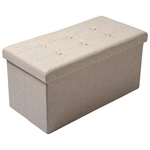 Woltu sh32cm pouf contenitore panche sgabello pieghevole poltrona poggiapiedi cassapanca scarpiera con coperchio rimovibile lino oxford 76x37,5x38cm beige