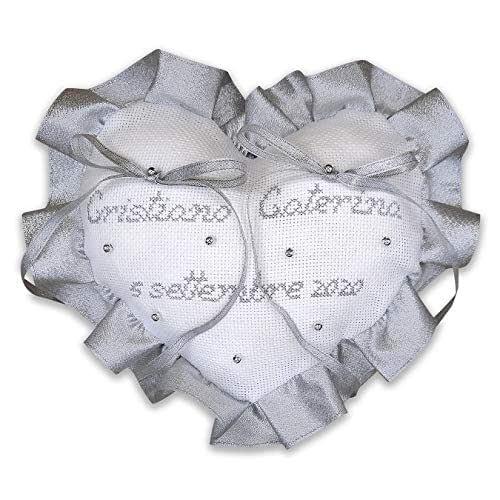 Crociedelizie, Cuscino fedi portafedi ricamato a puntocroce con nomi sposi nozze d'argento argentato anniversario 25esimo venticinquesimo