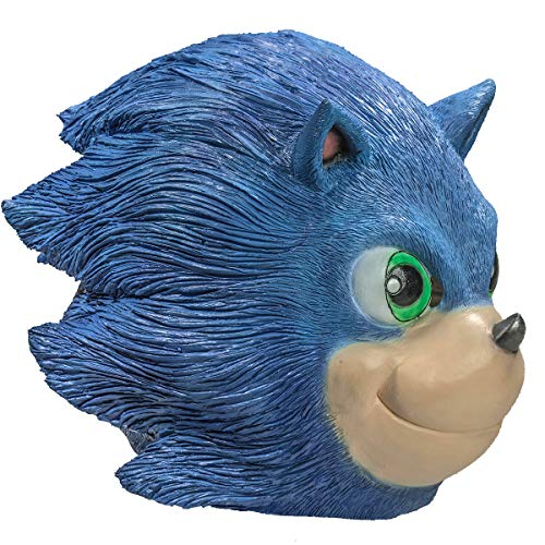 Nexthops Sonic Maske The Hedgehog Film Mask Einheitsgröße für Erwachsene aus Latex Blau Geruchlos Cosplay Zubehör für Halloween und Karneval