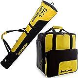 BRUBAKER Borsa porta scarponi 'Super Function 2.0' con scomparto casco et sacca da sci 'Carver Pro 2.0' colore giallo / nero 170 cm