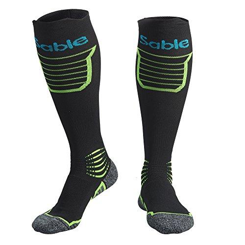 Sable Men's SA-PS053 Kompressionsstrümpfe, Laufsocken Wandern Socken, Kompressionssocken mit atmungsaktivem Netzstoff, Extradämpfung für Rennen, Laufen, und Outdoor-Aktivitäten, Schwarz, S/M