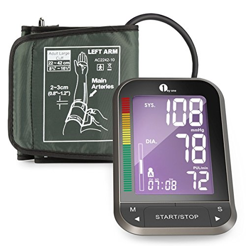 Blutdruckmessgerät, Digitale Oberarm-Blutdruckmessgerät 1byone mit leicht lesbarem LCD Screen mit Hintergrundbeleuchtung, Universal-Manschette aus Nylon und Aufbewahrungstasche, Schwarz