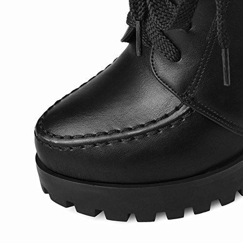 Mee Shoes Damen chunky heels Plateau kurzschaft Ankle Boots Schwarz