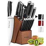 Emojoy Couteaux de Cuisine, Ensemble de Couteaux 15 pièces avec Bloc de Couteaux, Set Couteaux Cuisine Professionnels en Acier Inoxydable 420Mov, Couteau de Chef avec Support en Bois (Noir)