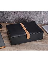 SWEETV Uhrenbox für 10 Uhren Schwarz Uhrenkoffer Uhrenkasten Uhrenschatulle Aufbewahrungsbox Schmuckkästchen
