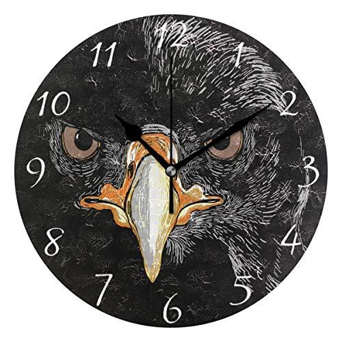 Ahomy Runde Wanduhr mit Adler-Motiv für Zuhause, Büro, 1 AA-Batterie (Nicht im Lieferumfang enthalten) - Adler-raum-dekor