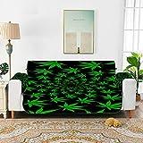 WDDHOME Foglie di Marijuana Verde Modello vettoriale Copertura Cannabis Divano reclinabile Copridivano Divano Cuscini per sedili 66'(168 cm) per 3 posti Lavabile in Lavatrice Coprivaso