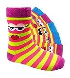 Kinder Socken handgekettelt Spitze ohne Naht 6 Paar aus besonders weicher Baumwolle bunter Mix Gr. 19-42 (35-38, Smileys Mädchen)