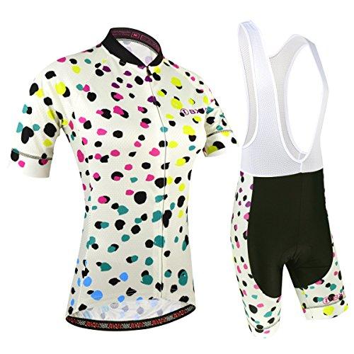 BXIO Fahrradtrikot Kurzarm Damen, Atmungsaktiv Fahrrad Anzug mit Kurzarm mit Sitzpolster für MTB und Pro Team, Punktiertes Muster, XL
