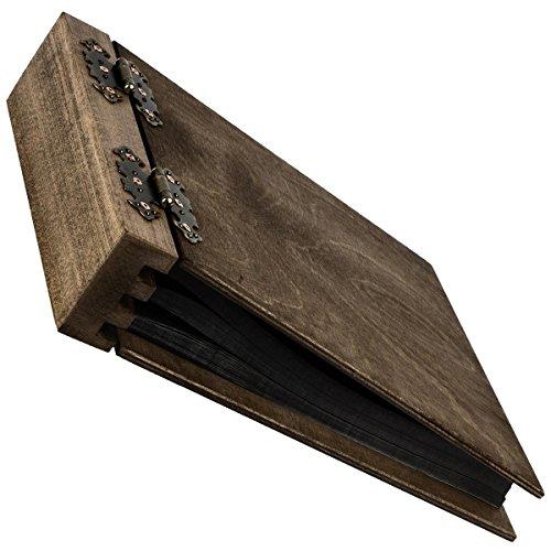 Fotoalbum aus Holz mit 75 Blatt 150 Seiten, beidseitig klappbar im neutralen Holzdesign edle...