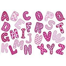 I-love-Wandtattoo Pegatina de Pared Set habitación Infantil Alfabeto en Rosa con patrón