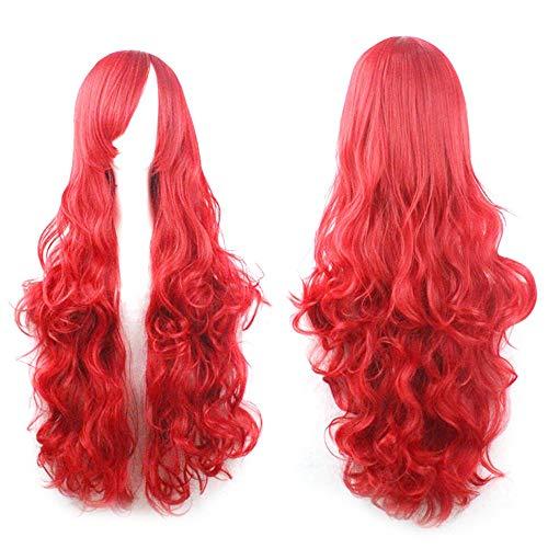 Rifuli® Perrücke Cosplay Kostüm Perücken Frauen Lange Locken Wellenförmige Rote Halloween Party Anime Haar Echthaar Perücke