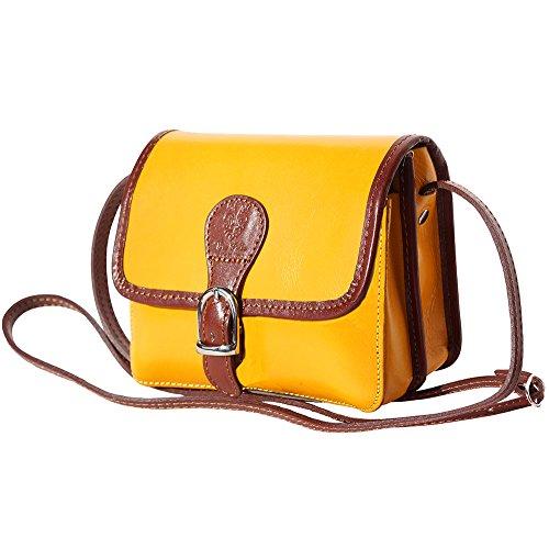 LADY Schultertasche aus Leder 225 Gelb-braun
