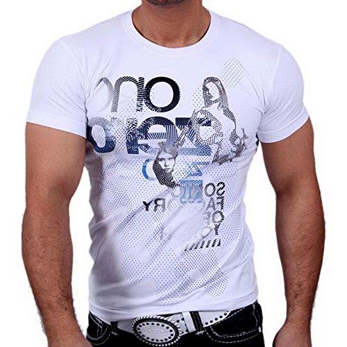 Rusty Neal 3389 Party Club Kurzarm Style Strass T-Shirt Größen S M L XL XXL Weiß